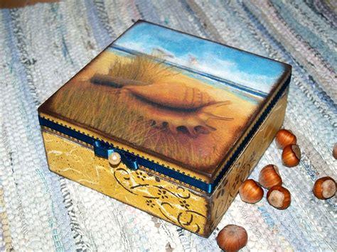 decoupage technique handmade decoupage jewelry storage box quot baltic sea