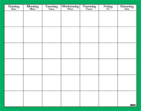 Craft Table Dominie Green Monthly Calendar Chart