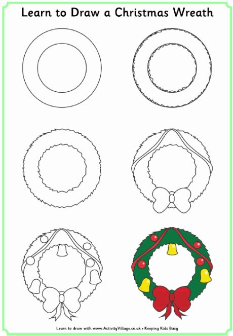 drawn wreath step by step pencil and in color drawn