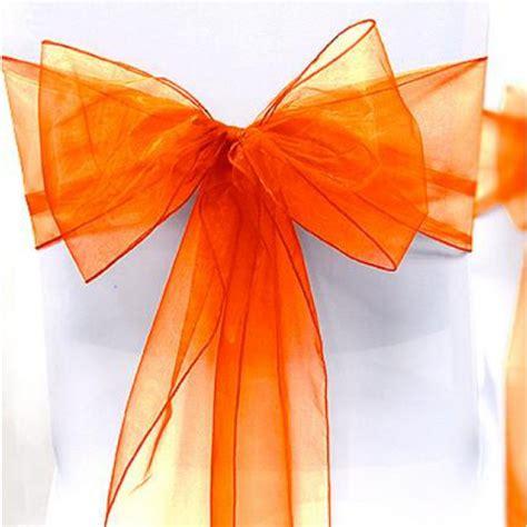 noeud de chaise en organza orange noeud mariage pas cher