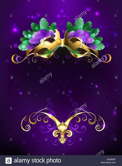 mardi gras background mardi gras gold mask of green and purple feathers on a