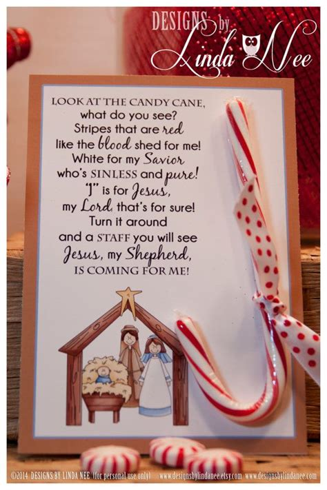 legend of the candy cane nativity card for witnessing at
