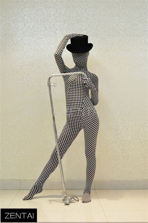 pattern zentai suit polka dot checkered pattern of black and white color