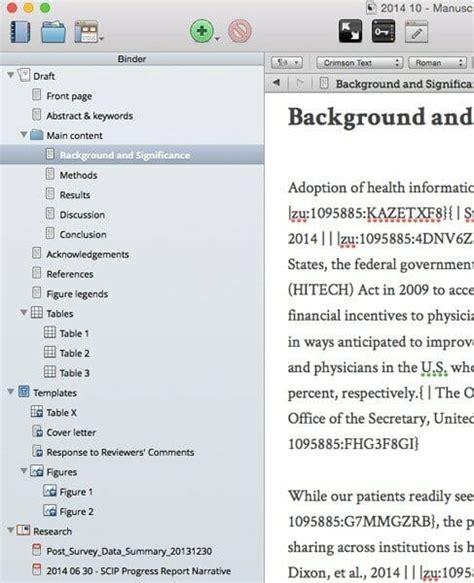 Using Scrivener For Writing Scientific Papers Daniel Vreeman Scrivener Template