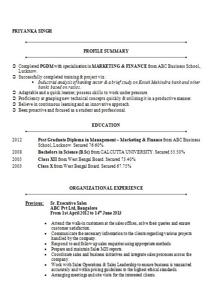 beautyful resume sample mba marketing finance with 4 years