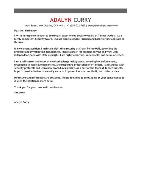 security officer cover letter sample cover letters livecareer com