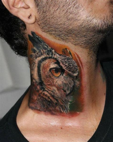owl tattoo es 17 best images about tatuajes en el cuello para hombres on