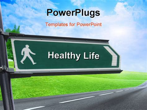 powerpoint templates free download healthy lifestyle a street sign with a healthy life theme powerpoint