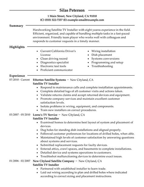 Satellite Engineer Cover Letter by Satellite Tv Installer Resume Sle Installer Resumes Livecareer