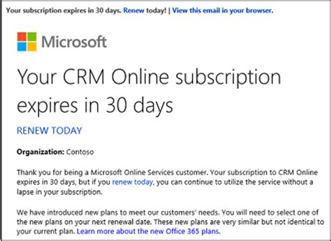 Important Information For Crm Online Volume License Customers Microsoft Docs Subscription Renewal Email Template