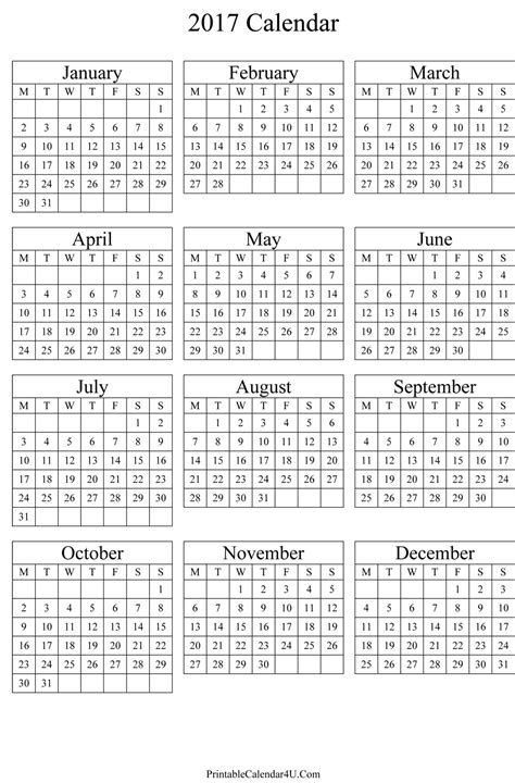 Whole Year Calendar 2017 2017 Year Calendar Template 2017 Calendar Printable