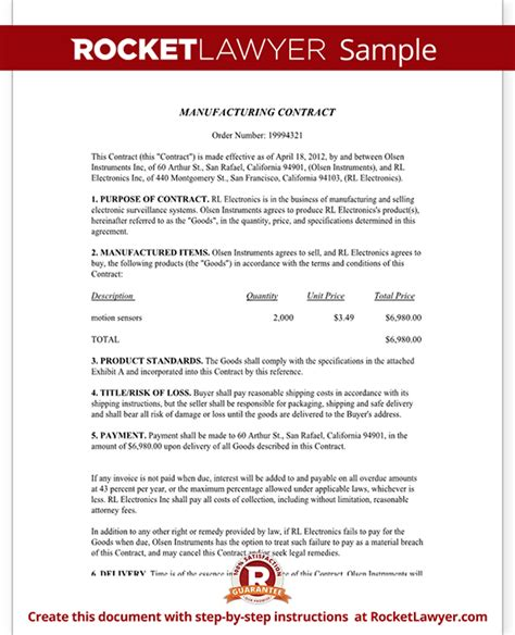 manufacturing agreement template free manufacturing contract free contract template with sle
