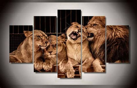 lion decor home frame large picture canvas print leo lion family big tiger home decor art wall ebay