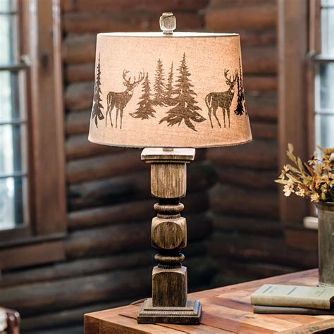 Rustic Table Lamps: Deer Forest Table Lamp Black Forest Decor