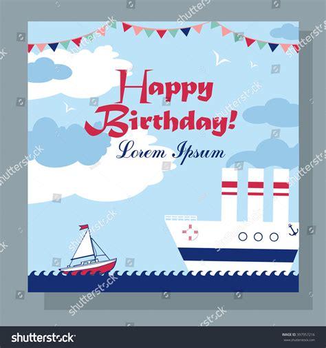 boat birthday clipart happy birthday card two boats sea stock vector 397957216