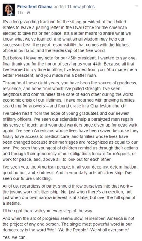 thank u letter for him barack obama pens thank you letter to american