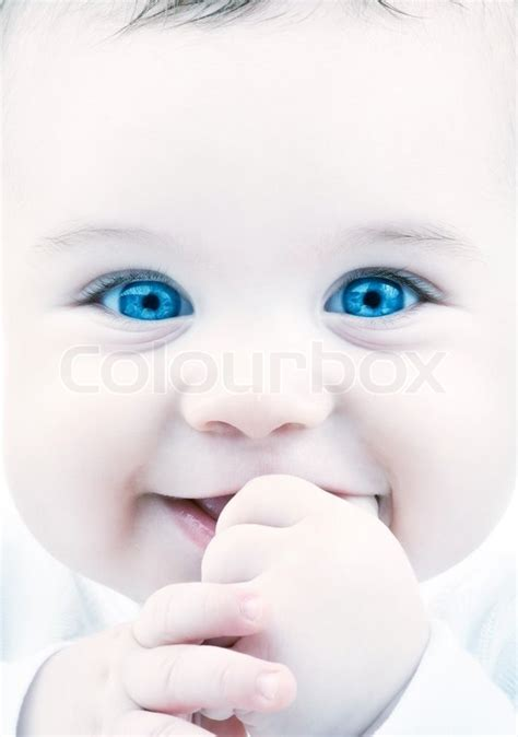 Baby S Trousseau Pale Blue Adorable Baby With Blue Stock Photo Colourbox