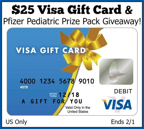 Visa Gift Card Packs - 25 visa gift card pfizer pediatric prize pack giveaway powered by mom