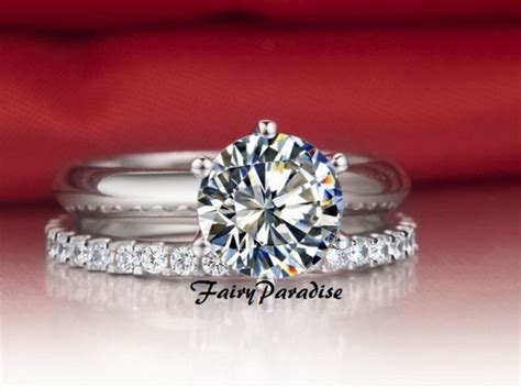 2pcs 3ct made solitaire engagement ring
