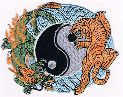 tattoo patches tiger yin yang thai embroidered iron