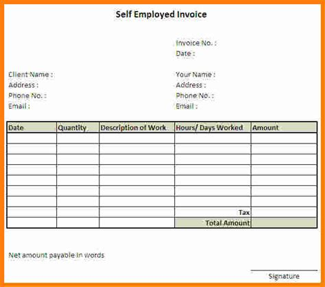 10 Invoice Template For Self Employed Ledger Paper Self Employment Ledger Template Excel