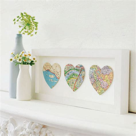 www home decore com bespoke map heart trio artwork by bombus