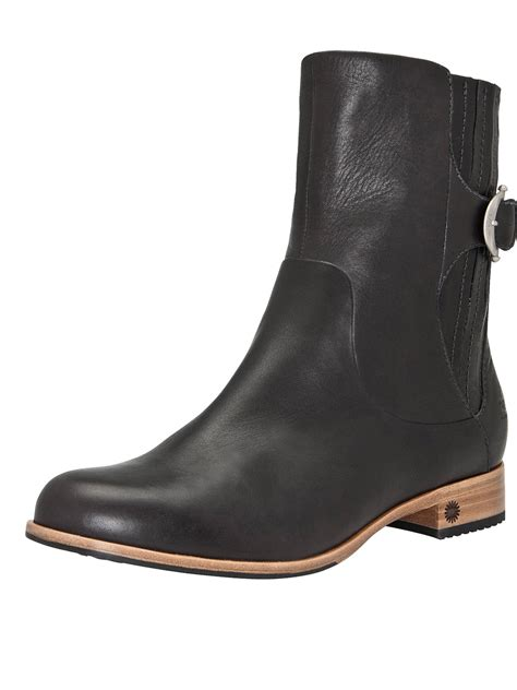 black leather ugg boots ugg finnegan leather ankle boots in black lyst