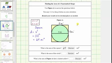 how to find the outdoor find the area inside a square and outside a circle