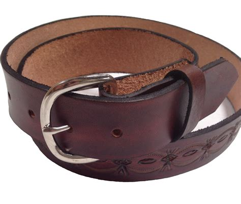 Handmade Mens Belts - handmade mens leather belt 1 5 quot wide crowsfoot sted design