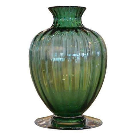 Baccarat Vases by Baccarat Emerald Green Ribbed Baluster Form Vase
