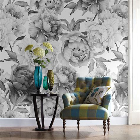 black and white mural wallpaper grey black and white floral custom 3d wall paper mural on