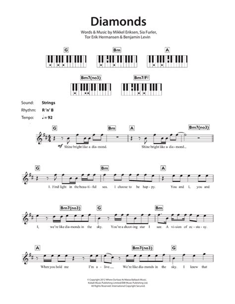 guitar tutorial diamonds rihanna diamonds sheet music by rihanna keyboard 116939