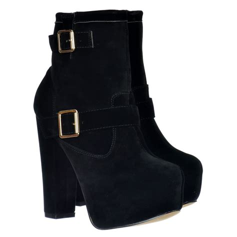 onlineshoe high heel suede ankle chelsea boot buckles