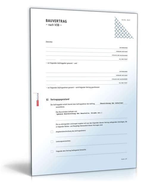 Vob Musterbriefe Für Auftraggeber Bauvertrag Muster Bauvertrag Nach Vob Einheitspreisvertrag