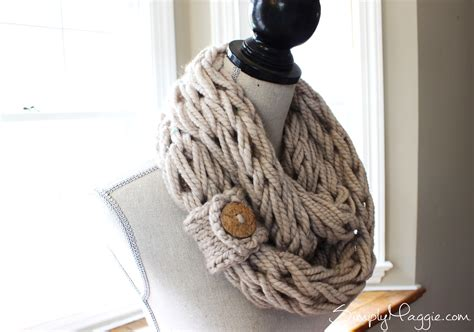 arm knit scarf with button cuff brown coconut button