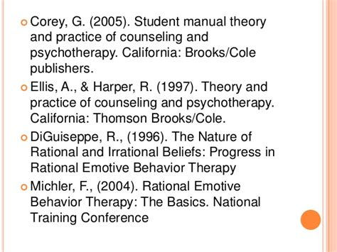 student manual theory practice counseling psychotherapy techniques of rebt