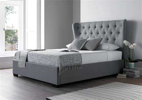 Salerno Cool Grey Upholstered Bed Frame Upholstered Beds Grey Bed Frame