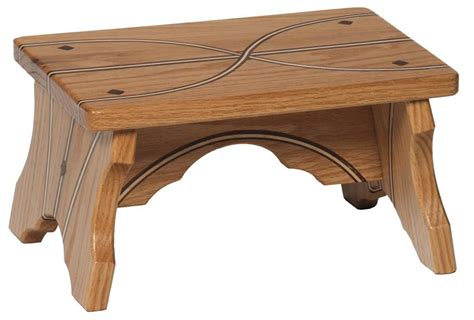 low wooden bench amish oak wood small bench with inlays