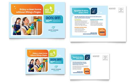 free business postcard templates cleaning services postcard template design