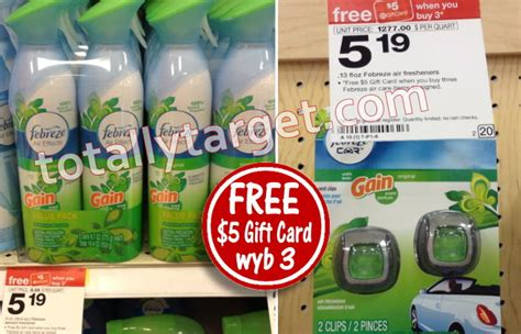 Totally Target Gift Card Deals - free 5 gift card wyb 3 select febreze twin packs totallytarget com