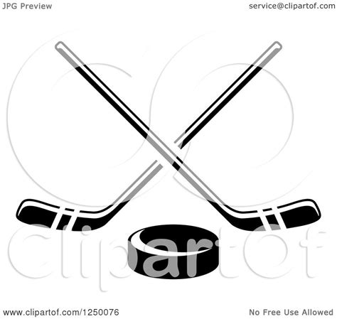 clipart of a black and white hockey puck and crossed