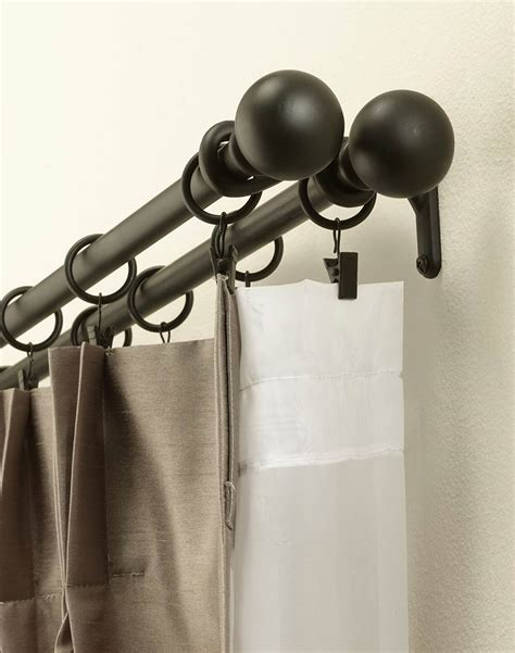 how to make double curtain rods double curtain rod set with finials curtainworks com
