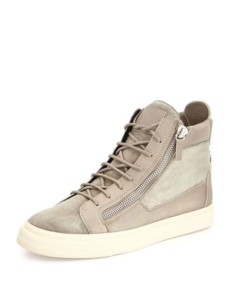 high top sneakers mens lyst giuseppe zanotti suede high top sneakers in gray