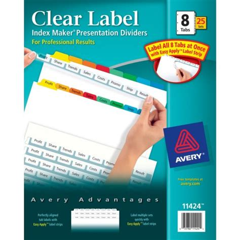 template for avery clear label index maker dividers avery index maker clear label dividers easy apply label