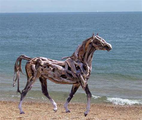 Giraffe Statue Home Decor Large Driftwood Horse Sculpture On The Beach Urbanist