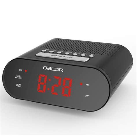 baldr led digital radio controlled alarm clock fm button clock buzzer snooze tabletop