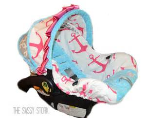 Car Seat Cover Winter Chicco Pink Aqua Anchor And Grey Infant Car Seat Cover Ready To Ship