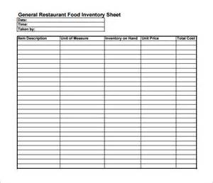 Blank Inventory Sheet Template by Inventory Sheet Template 9 Free Sles Exles Format