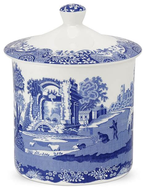 italian canisters kitchen spode blue italian storage jar 19cm contemporary kitchen canisters and jars by s