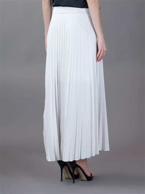 brunello cucinelli pleated maxi skirt in white lyst